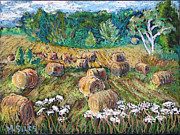 Bales Paintings - Hay Bales and Lace by Madonna Siles