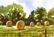 Farmland Painting Originals - Hay Bales at Noontime  by Kip DeVore