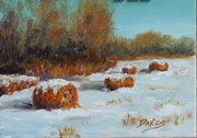 Bales Paintings - Hay Bales by Debra Davies