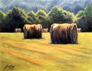 Farm In Franklin Tennessee Painting Prints - Hay Bales Print by Janet King