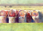 Dakota Painting Metal Prints - Hay Bales Metal Print by Kris Parins