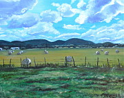 Bales Paintings - Hay Bales by Melissa Torres