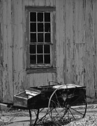 Black And White Photography Painting Metal Prints - Hay Cart Metal Print by Kirt Tisdale