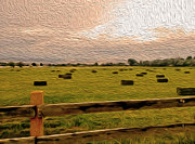 Bales Digital Art Posters - Hay Field in Oil After The Rain Poster by Janice Rae Pariza