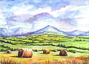 Farm Fields Drawings Framed Prints - Hay Fields Framed Print by Carol Wisniewski