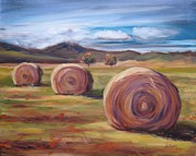 Bale Painting Metal Prints - Hay Harvest Metal Print by Donna Tuten
