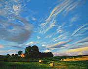 Field. Cloud Paintings - Hay Rolls On The Farm Series One In Westmoreland County Pennsylvania by Christopher Shellhammer