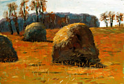 Fall Season Painting Posters - Hay Stacks 3PM Poster by Charlie Spear