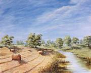 Haybales Painting Prints - HayBales Print by Hayley Huckson