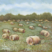 Haybales Painting Metal Prints - Haybales in the Field Metal Print by Vic  Mastis