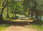 Plain Air Paintings - Hayden Shaded Path by Harriett Masterson