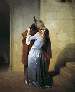 Hayez; Francesco (1791-1882) Framed Prints - Hayez, Francesco 1791-1882. The Kiss Framed Print by Everett