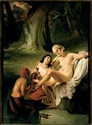 Drapery Prints - Hayez Francesco, Bathsheba At Her Bath Print by Everett