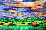Iowa Drawings - Hayfields by Jame Hayes