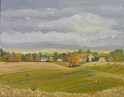 Cloudy Day Paintings - Hayin Time-Zenda Farm by Robert P Hedden