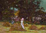 Oil Paint Framed Prints - Haymaking  Framed Print by Elizabeth Adela Stanhope Forbes