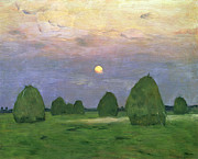 Hayrick Paintings - Hayricks at Dusk by Isaak Ilyich Levitan