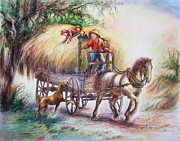 Ranching Drawings - Hayride Hiker by Dorothy Fenner