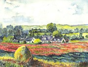Homes Drawings Posters - Haystack and Poppies  Poster by Carol Wisniewski