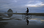 Haystack Rock Framed Prints - Haystack Biker Framed Print by Doug Davidson