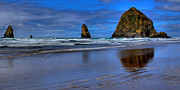 Ocean Scenes Framed Prints - Haystack Rock and the Needles II Framed Print by David Patterson