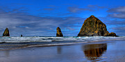 Ocean Scenes Framed Prints - Haystack Rock and the Needles III Framed Print by David Patterson