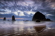 Beach Photograph Framed Prints - Haystack Rock at Sunset Framed Print by Andrew Soundarajan