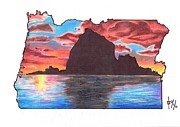 Oregon Drawings - Haystack Rock by Benjamin Butcher