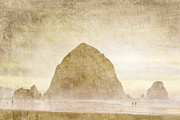 Golden Brown Framed Prints - Haystack Rock Framed Print by Carol Leigh