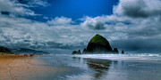 Ocean Scenes Framed Prints - Haystack Rock IV Framed Print by David Patterson