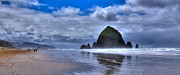 Ocean Scenes Prints - Haystack Rock IVa Print by David Patterson