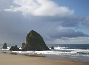 Haystack Framed Prints Metal Prints - Haystack Rock Metal Print by Jeanette French