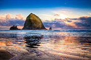 Sun Framed Prints - Haystack Rock Framed Print by Niels Nielsen