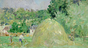Landscape Posters Painting Framed Prints - Haystacks at Bougival Framed Print by Berthe Morisot