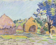Landscapes Drawings Metal Prints - Haystacks at Saint Cheron Metal Print by Jean Baptiste Armand Guillaumin