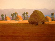 Farm Scenes Pastels Posters - Haystacks Poster by Doyle Shaw