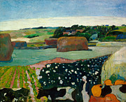 Post-impressionism Paintings - Haystacks in Brittany by Paul Gaugin