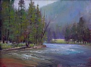 Gallatin River Painting Framed Prints - Hazy Day on the Gallatin  Framed Print by Lori  McNee