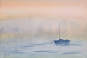 Sailboat Ocean Prints - Hazy Day Watercolor Painting Print by Michelle Wiarda