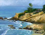 Laguna Beach Painting Metal Prints - Hazy Laguna Morning Metal Print by Alice Leggett