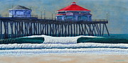 Surf Art Reliefs Framed Prints - HB Pier Framed Print by Nathan Ledyard