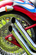 Brake Metal Prints - HD Custom Drag Pipes Metal Print by Tim Gainey
