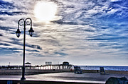Sandy Beaches Posters - HDR Beachtown Beach Ocean Sand Pier Sunrise Clouds Relaxation Photography Photos Sale Gallery Buy  Poster by Pictures HDR