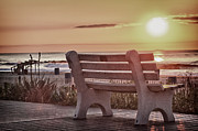 Landscape Picture Framed Prints - HDR Belmar Boardwalk Sunrise Scenic Ocean Seascape Sea Photo Photography Picture Art Image Buy Sell  Framed Print by Pictures HDR