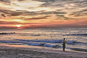 Sell Art Posters - HDR Cloudy Sunrise Fishing Beach Ocean Sea Photo Picture Photography Gallery Sale Buy Sell Art  Poster by Pictures HDR