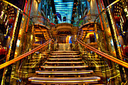 Cruising Posters - HDR Staircase Cruise Ship Poster by Amy Cicconi