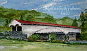 Covered Bridge Painting Metal Prints - He Guides  Metal Print by Nancy Patterson