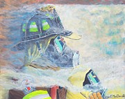 Fireman Paintings - He is at the door by Carey MacDonald