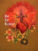 Easter Flowers Pastels Prints - He Is Risen Greeting Card Print by Maria Urso