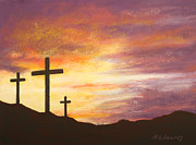 Bible Pastels Posters - He is Risen Poster by Marna Edwards Flavell
